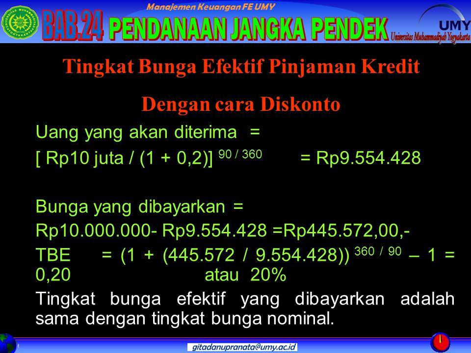 Manajemen Keuangan FE UMY Uang yang akan diterima = [ Rp10 juta / (1 + 0,2)] 90 / 360 = Rp9.554.428 Bunga yang dibayarkan = Rp10.000.000- Rp9.554.428 =Rp445.572,00,- TBE = (1 + (445.572 / 9.554.428)) 360 / 90 – 1 = 0,20 atau 20% Tingkat bunga efektif yang dibayarkan adalah sama dengan tingkat bunga nominal.