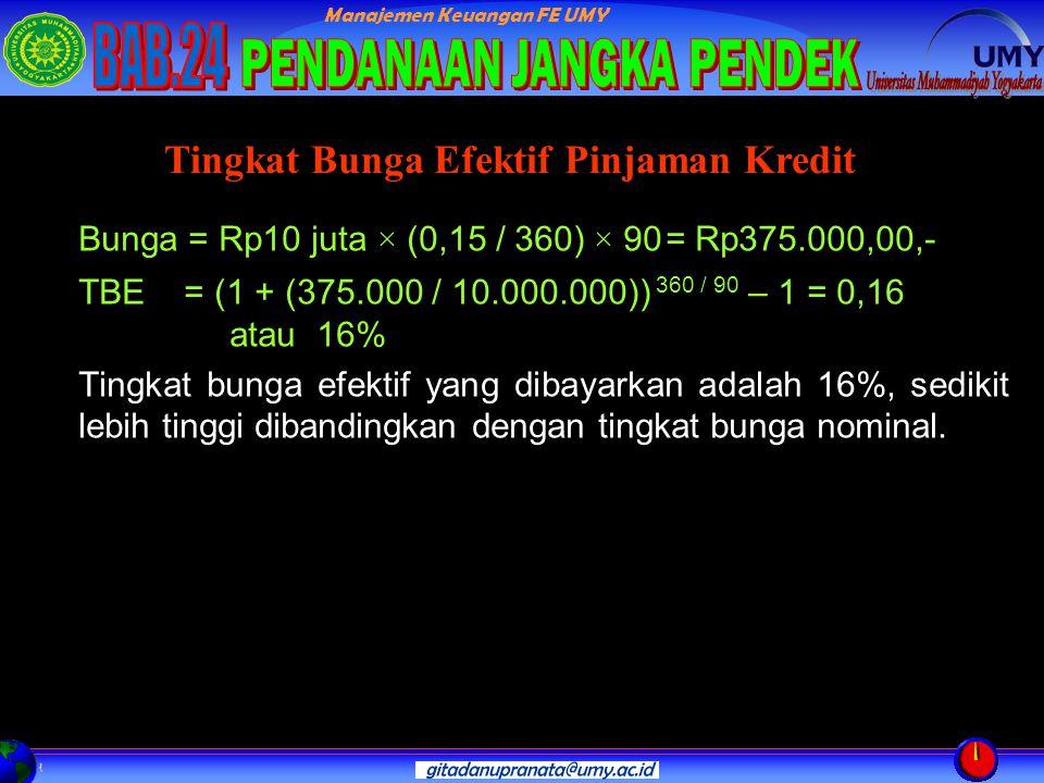 Manajemen Keuangan FE UMY Bunga = Rp10 juta × (0,15 / 360) × 90= Rp375.000,00,- TBE = (1 + (375.000 / 10.000.000)) 360 / 90 – 1 = 0,16 atau 16% Tingkat bunga efektif yang dibayarkan adalah 16%, sedikit lebih tinggi dibandingkan dengan tingkat bunga nominal.