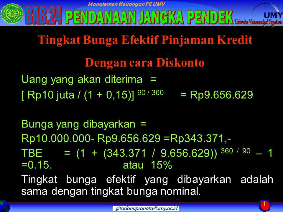 Manajemen Keuangan FE UMY Uang yang akan diterima = [ Rp10 juta / (1 + 0,15)] 90 / 360 = Rp9.656.629 Bunga yang dibayarkan = Rp10.000.000- Rp9.656.629 =Rp343.371,- TBE = (1 + (343.371 / 9.656.629)) 360 / 90 – 1 =0.15.