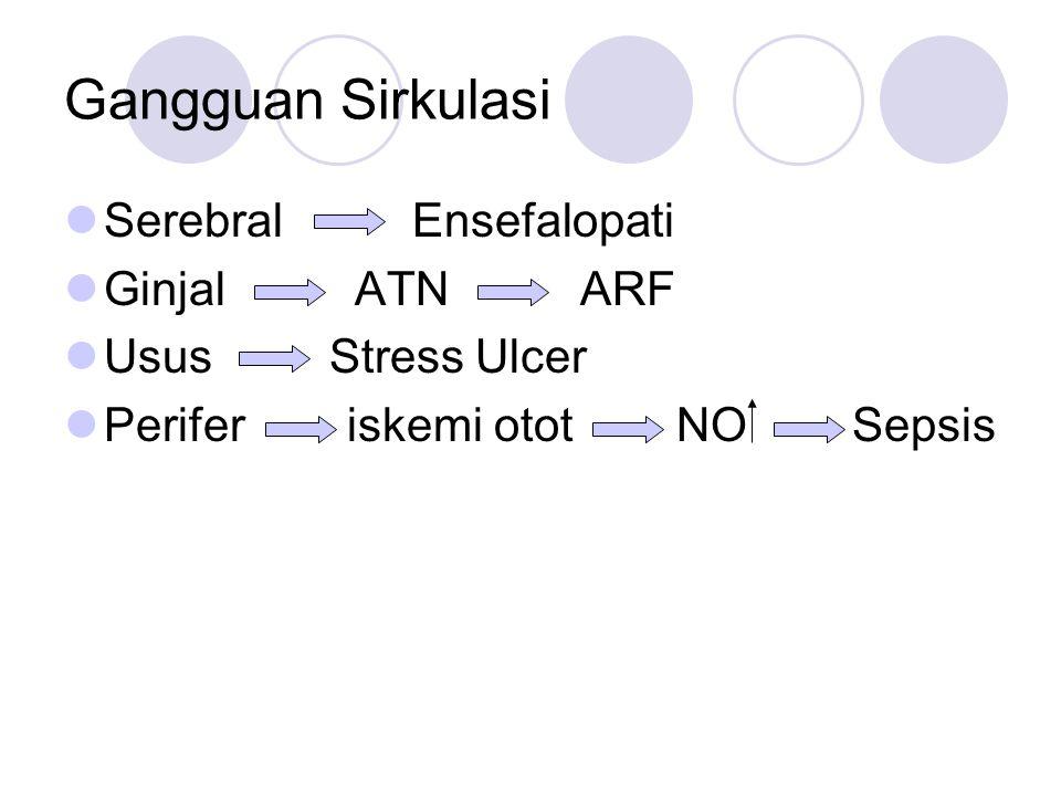 Gangguan Sirkulasi Serebral Ensefalopati Ginjal ATN ARF Usus Stress Ulcer Perifer iskemi otot NO Sepsis