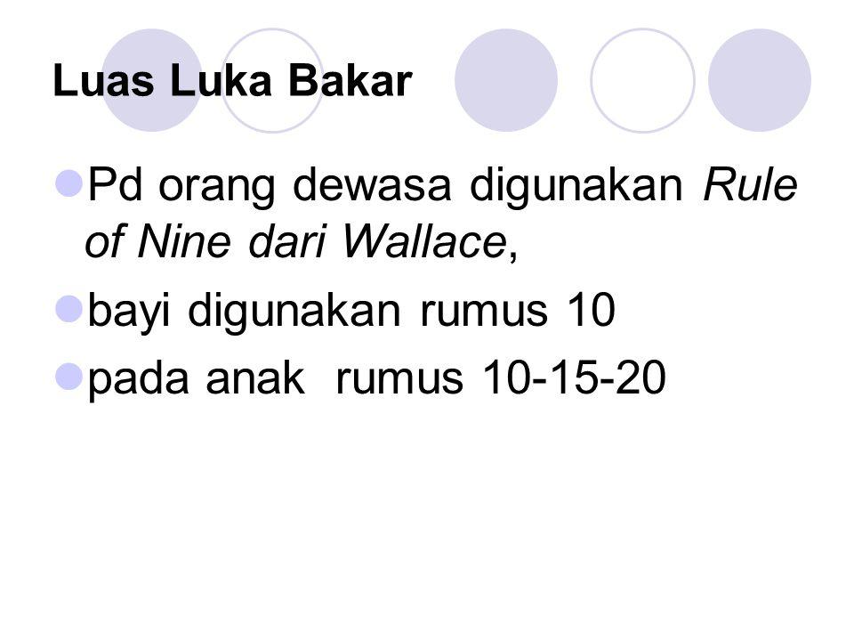 Luas Luka Bakar Pd orang dewasa digunakan Rule of Nine dari Wallace, bayi digunakan rumus 10 pada anak rumus 10-15-20