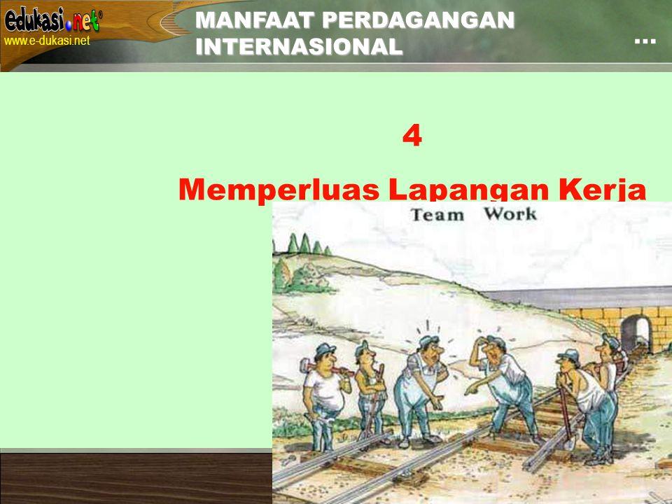 Contact: uwes@pustekkom.go.id www.e-dukasi.net uwes@pustekkom.go.id Pelatihan Penulisan Naskah Multimedia Pembelajaran Interaktif Balai Pengembangan Multimedia, Semarang, 24 Juni 2007 … MANFAAT PERDAGANGAN INTERNASIONAL 4 Memperluas Lapangan Kerja