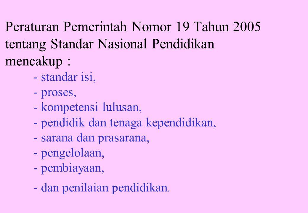 Peraturan Pemerintah Nomor 19 Tahun 2005 tentang Standar Nasional Pendidikan mencakup : - standar isi, - proses, - kompetensi lulusan, - pendidik dan tenaga kependidikan, - sarana dan prasarana, - pengelolaan, - pembiayaan, - dan penilaian pendidikan.