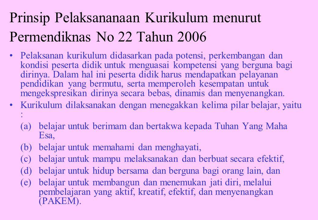 Satuan pendidikan dasar dan menengah pada jenjang pendidikan dasar dan menengah yang telah melaksanakan uji coba kurikulum 2004 secara menyeluruh dapat menerapkan Peraturan Menteri Pendidikan Nasional Nomor 22 Tahun 2006 dan Nomor 23 Tahun 2006 untuk semua tingkatan kelasnya mulai tahun ajaran 2006/2007.