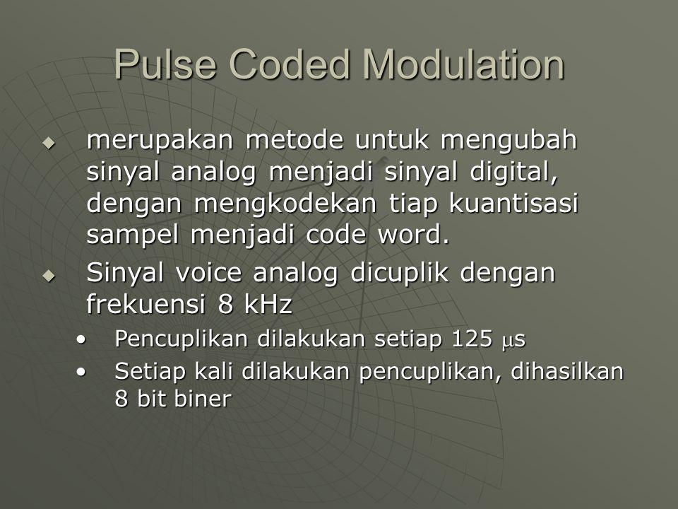 Pulse Coded Modulation  merupakan metode untuk mengubah sinyal analog menjadi sinyal digital, dengan mengkodekan tiap kuantisasi sampel menjadi code