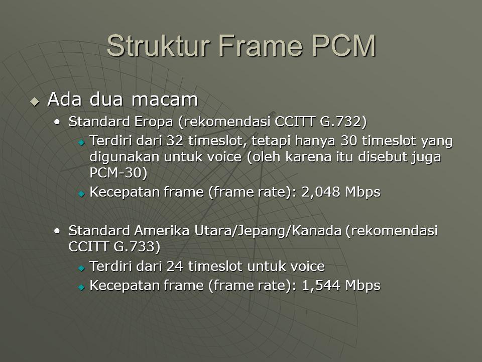 Struktur Frame PCM  Ada dua macam Standard Eropa (rekomendasi CCITT G.732)Standard Eropa (rekomendasi CCITT G.732)  Terdiri dari 32 timeslot, tetapi