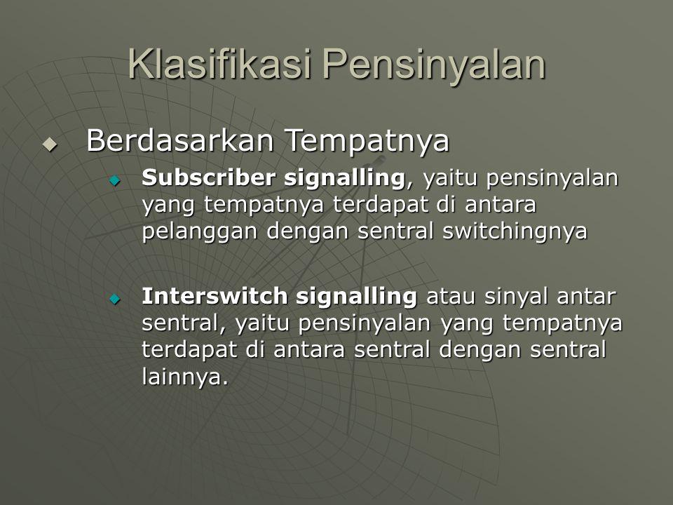 Klasifikasi Pensinyalan  Berdasarkan Tempatnya  Subscriber signalling, yaitu pensinyalan yang tempatnya terdapat di antara pelanggan dengan sentral