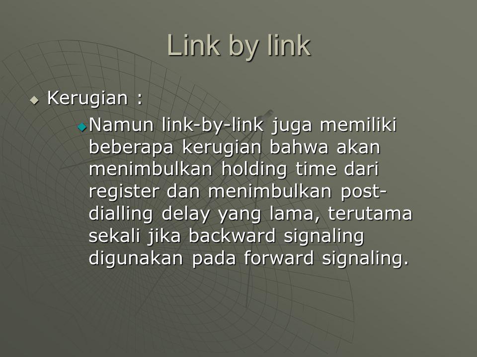 Link by link  Kerugian :  Namun link-by-link juga memiliki beberapa kerugian bahwa akan menimbulkan holding time dari register dan menimbulkan post-
