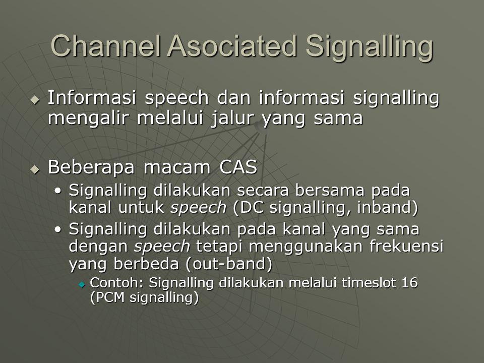 Channel Asociated Signalling  Informasi speech dan informasi signalling mengalir melalui jalur yang sama  Beberapa macam CAS Signalling dilakukan se