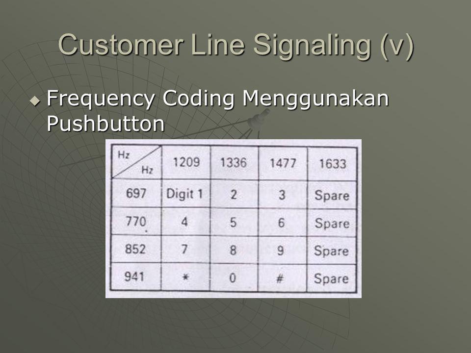 Customer Line Signaling (v)  Frequency Coding Menggunakan Pushbutton