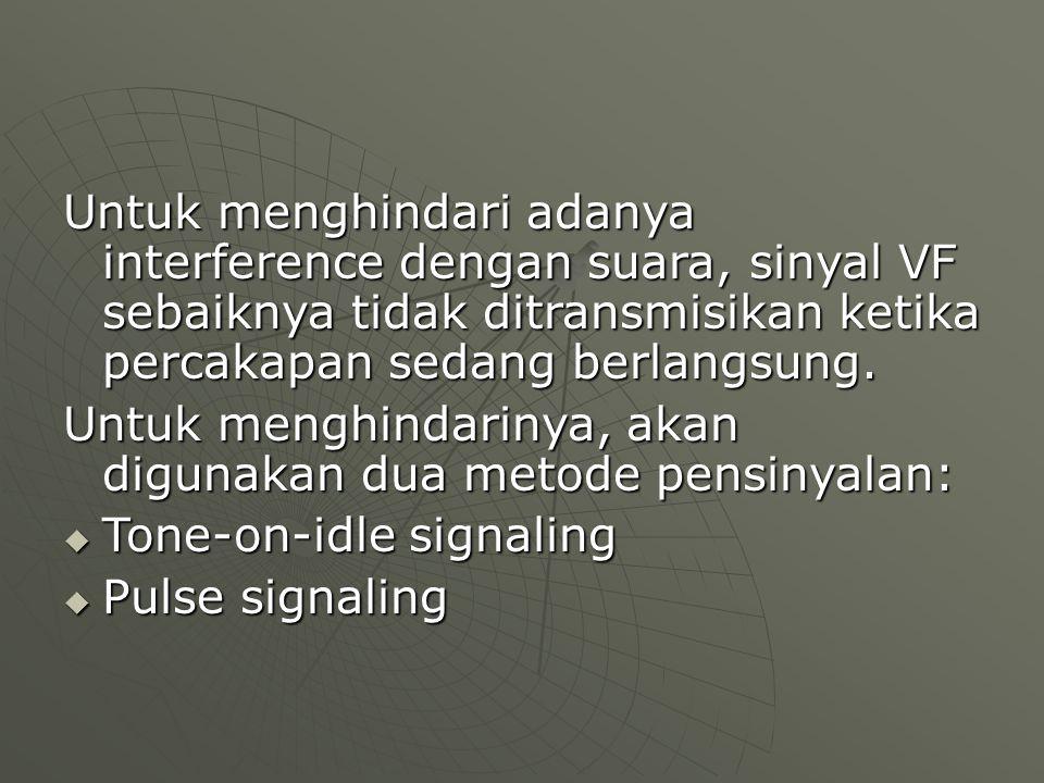 Untuk menghindari adanya interference dengan suara, sinyal VF sebaiknya tidak ditransmisikan ketika percakapan sedang berlangsung. Untuk menghindariny