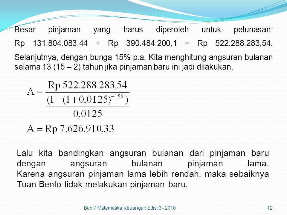 Besar pinjaman yang harus diperoleh untuk pelunasan: Rp 131.804.083,44 + Rp 390.484.200,1 = Rp 522.288.283,54. Selanjutnya, dengan bunga 15% p.a. Kita