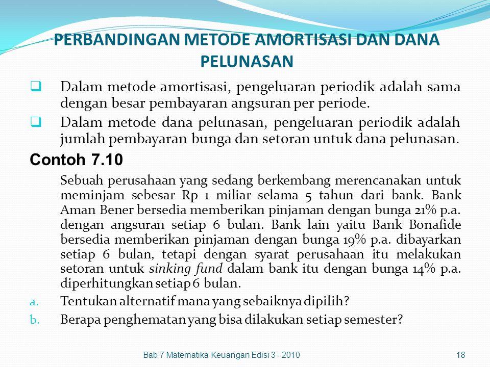 PERBANDINGAN METODE AMORTISASI DAN DANA PELUNASAN  Dalam metode amortisasi, pengeluaran periodik adalah sama dengan besar pembayaran angsuran per per
