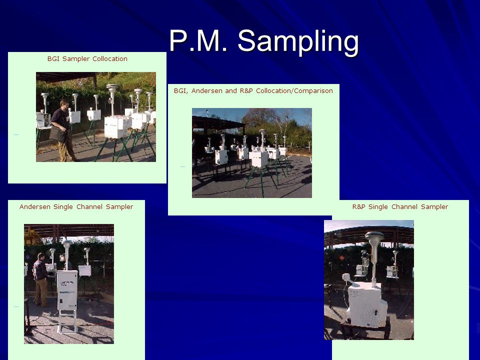 P.M. Sampling BGI Sampler Collocation BGI, Andersen and R&P Collocation/Comparison R&P Single Channel Sampler Andersen Single Channel Sampler