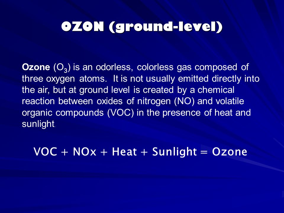 OZON (ground-level) Ozone (O 3 ) is an odorless, colorless gas composed of three oxygen atoms. It is not usually emitted directly into the air, but at