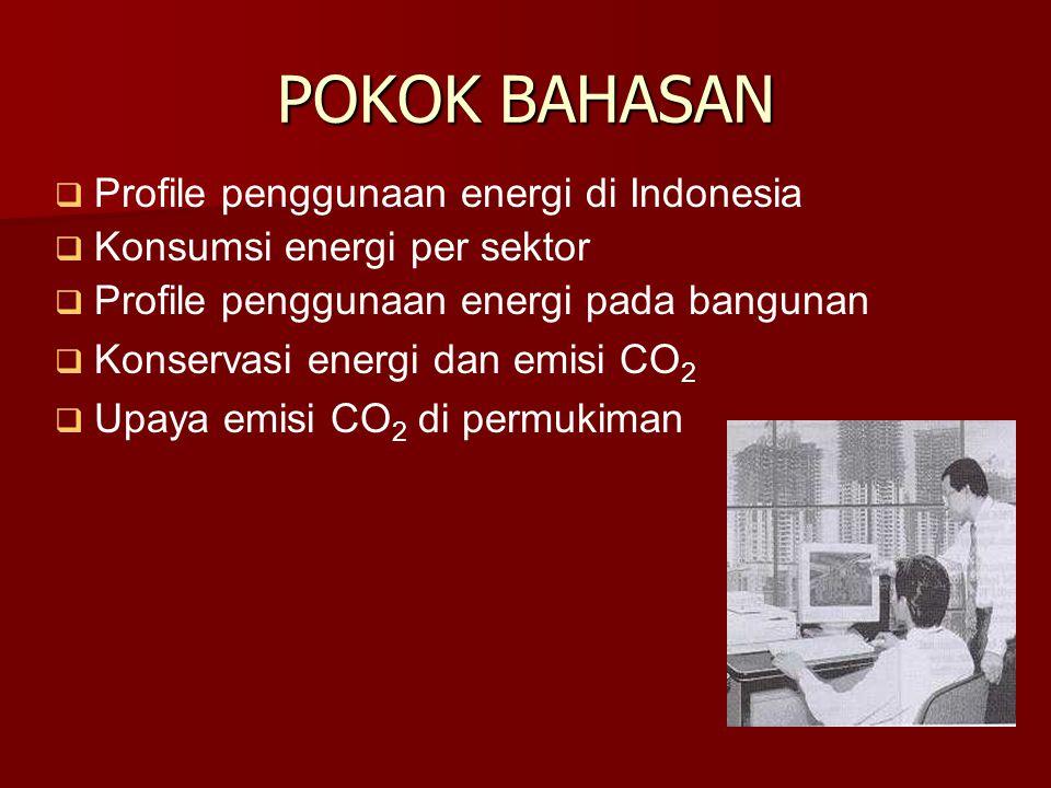 POKOK BAHASAN   Profile penggunaan energi di Indonesia   Konsumsi energi per sektor   Profile penggunaan energi pada bangunan   Konservasi energi dan emisi CO 2   Upaya emisi CO 2 di permukiman