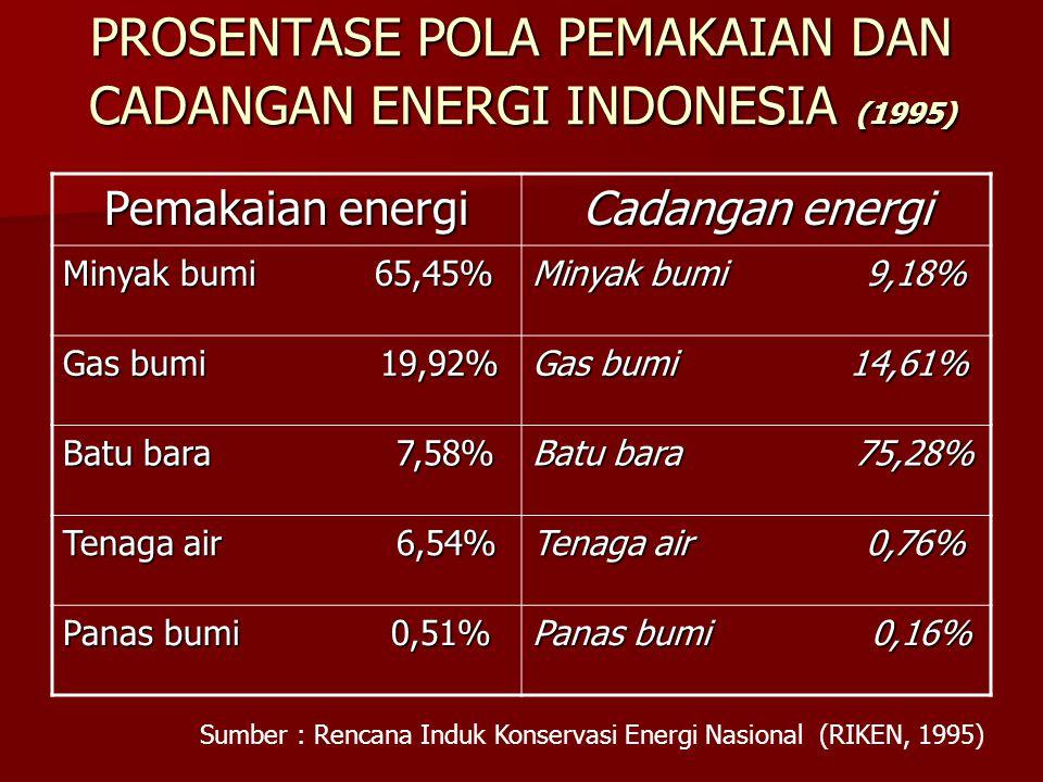 PROSENTASE POLA PEMAKAIAN DAN CADANGAN ENERGI INDONESIA (1995) Pemakaian energi Cadangan energi Minyak bumi 65,45% Minyak bumi 9,18% Gas bumi 19,92% Gas bumi 14,61% Batu bara 7,58% Batu bara 75,28% Tenaga air 6,54% Tenaga air 0,76% Panas bumi 0,51% Panas bumi 0,16% Sumber : Rencana Induk Konservasi Energi Nasional (RIKEN, 1995)