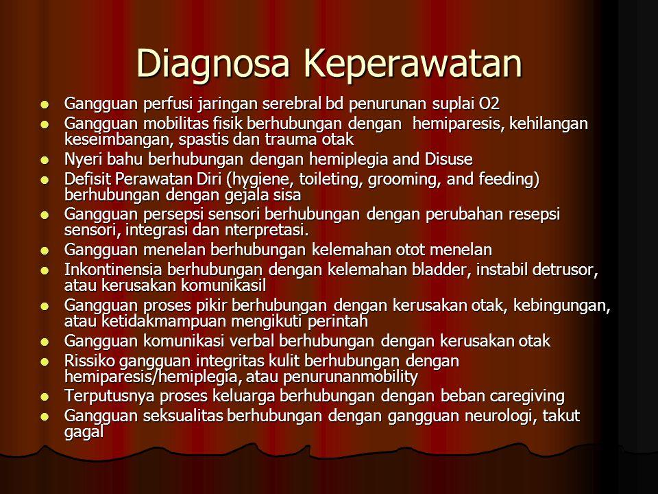 Diagnosa Keperawatan Gangguan perfusi jaringan serebral bd penurunan suplai O2 Gangguan perfusi jaringan serebral bd penurunan suplai O2 Gangguan mobi