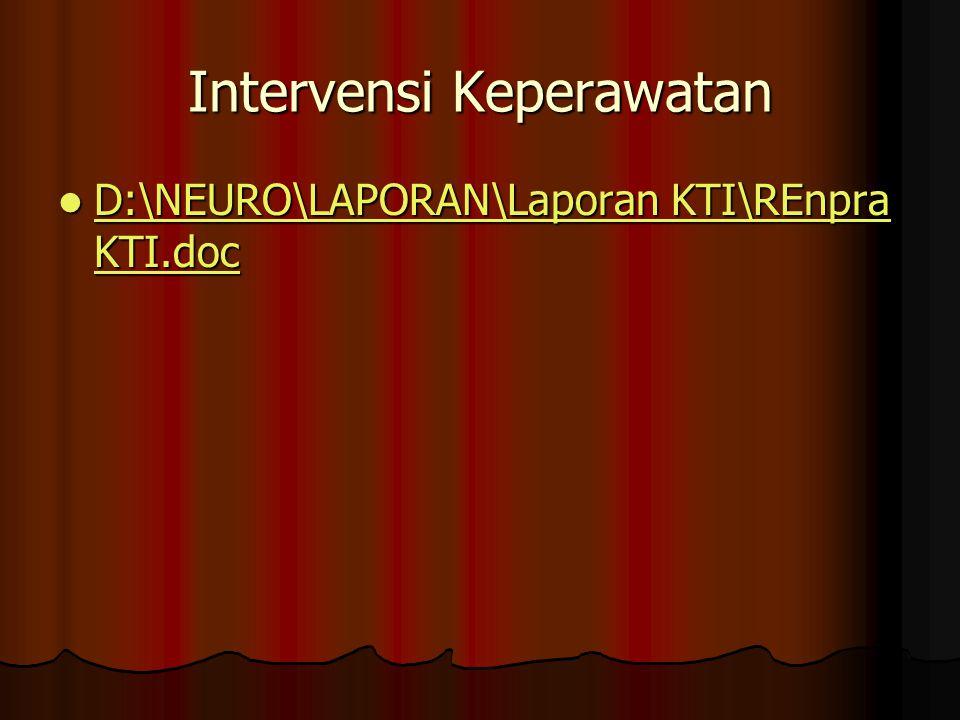 Intervensi Keperawatan D:\NEURO\LAPORAN\Laporan KTI\REnpra KTI.doc D:\NEURO\LAPORAN\Laporan KTI\REnpra KTI.doc D:\NEURO\LAPORAN\Laporan KTI\REnpra KTI