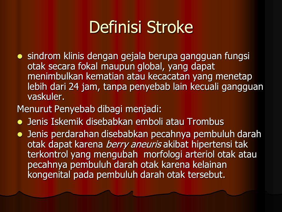 Definisi Stroke sindrom klinis dengan gejala berupa gangguan fungsi otak secara fokal maupun global, yang dapat menimbulkan kematian atau kecacatan ya