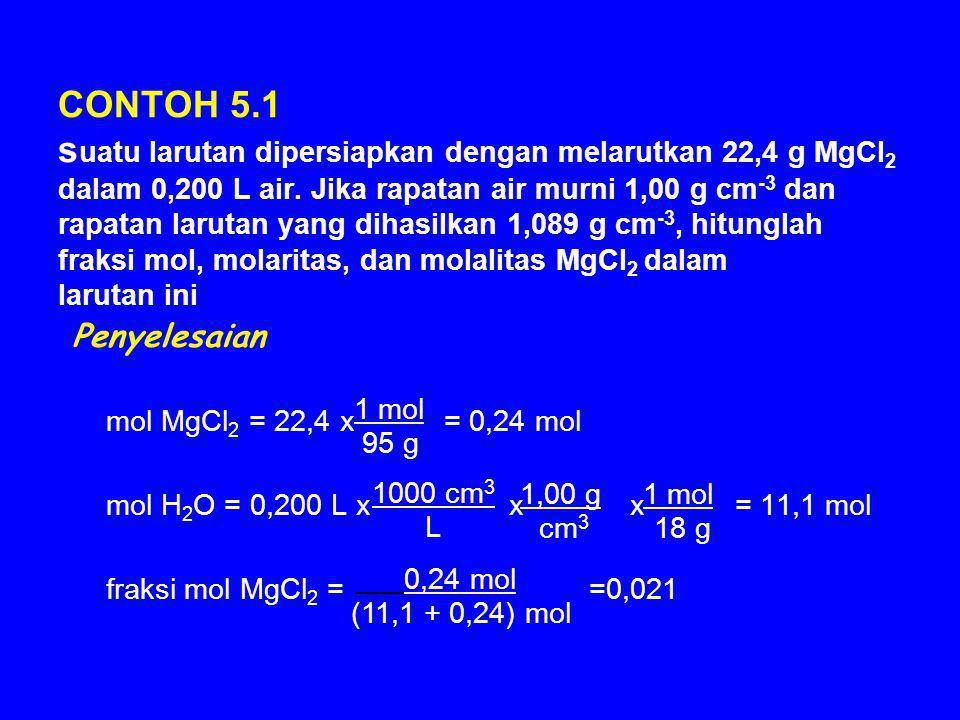 CONTOH 5.1 s uatu larutan dipersiapkan dengan melarutkan 22,4 g MgCl 2 dalam 0,200 L air. Jika rapatan air murni 1,00 g cm -3 dan rapatan larutan yang