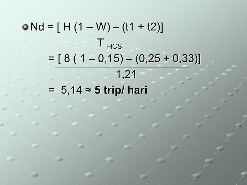 Nd = [ H (1 – W) – (t1 + t2)] T HCS T HCS = [ 8 ( 1 – 0,15) – (0,25 + 0,33)] = [ 8 ( 1 – 0,15) – (0,25 + 0,33)] 1,21 1,21 = 5,14 ≈ 5 trip/ hari = 5,14
