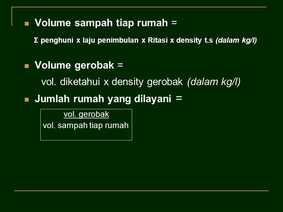 Volume sampah tiap rumah = Σ penghuni x laju penimbulan x Ritasi x density t.s (dalam kg/l) Volume gerobak = vol. diketahui x density gerobak (dalam k