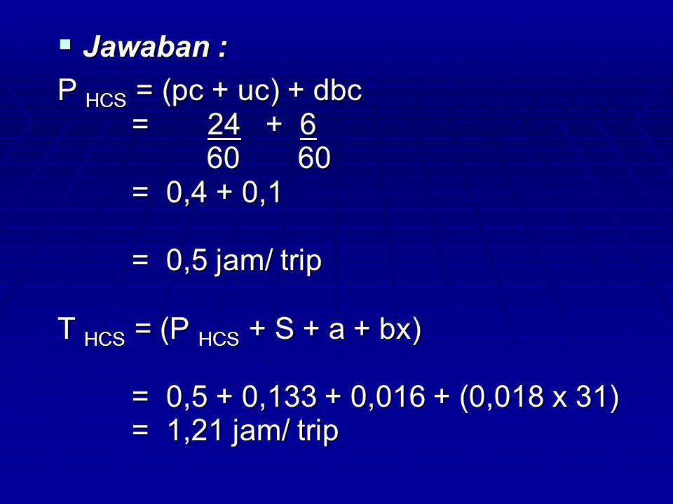 Nd = [ H (1 – W) – (t1 + t2)] T HCS T HCS = [ 8 ( 1 – 0,15) – (0,25 + 0,33)] = [ 8 ( 1 – 0,15) – (0,25 + 0,33)] 1,21 1,21 = 5,14 ≈ 5 trip/ hari = 5,14 ≈ 5 trip/ hari
