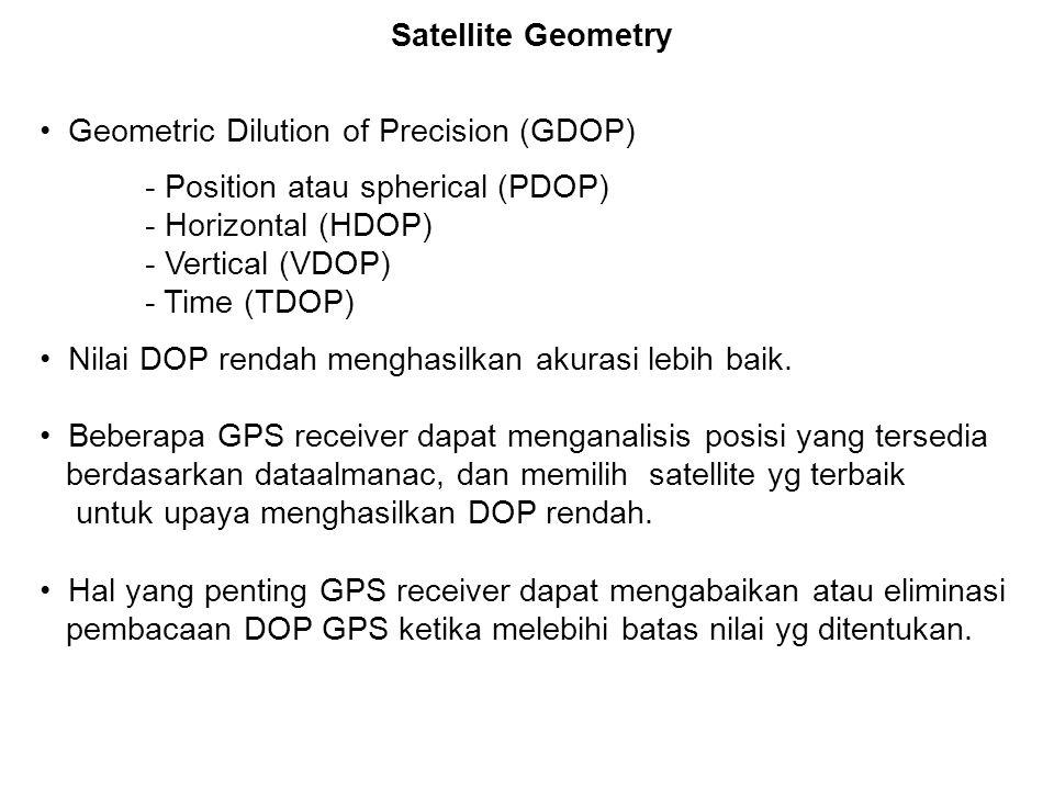 Geometric Dilution of Precision (GDOP) - Position atau spherical (PDOP) - Horizontal (HDOP) - Vertical (VDOP) - Time (TDOP) Nilai DOP rendah menghasilkan akurasi lebih baik.
