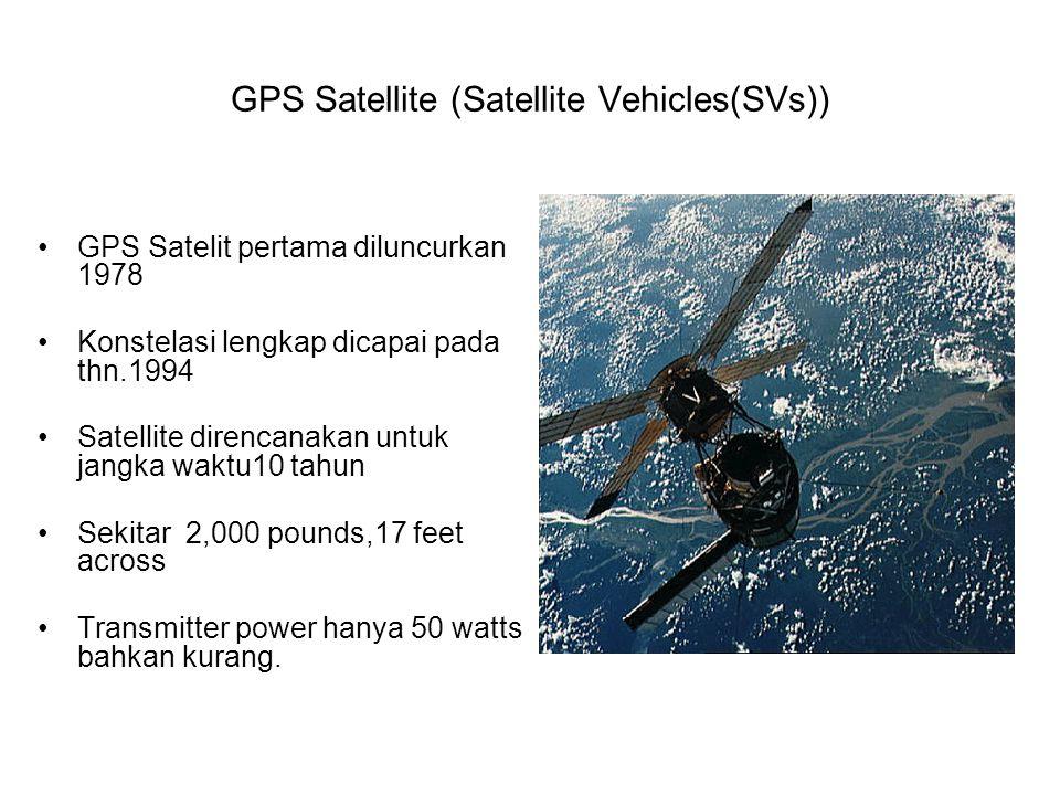 GPS Satellite (Satellite Vehicles(SVs)) GPS Satelit pertama diluncurkan 1978 Konstelasi lengkap dicapai pada thn.1994 Satellite direncanakan untuk jangka waktu10 tahun Sekitar 2,000 pounds,17 feet across Transmitter power hanya 50 watts bahkan kurang.