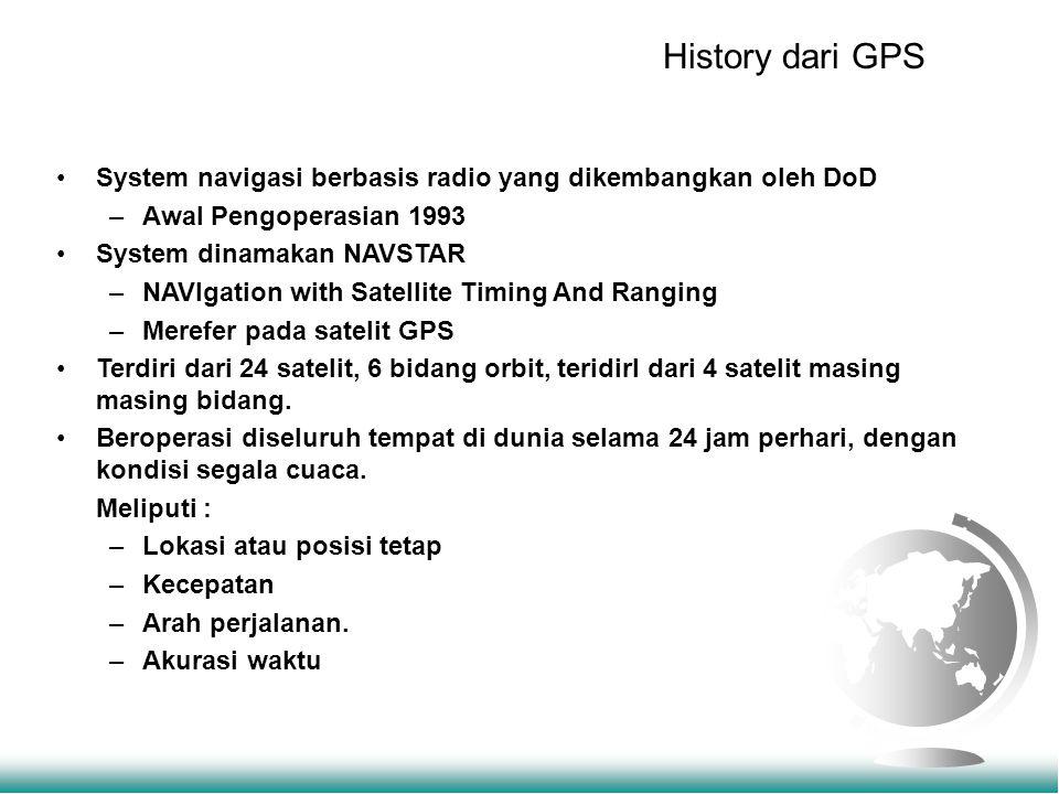 History dari GPS System navigasi berbasis radio yang dikembangkan oleh DoD –Awal Pengoperasian 1993 System dinamakan NAVSTAR –NAVIgation with Satellite Timing And Ranging –Merefer pada satelit GPS Terdiri dari 24 satelit, 6 bidang orbit, teridirI dari 4 satelit masing masing bidang.