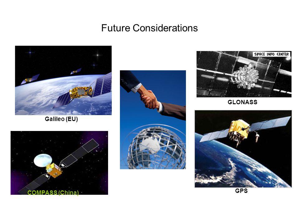 Future Considerations GLONASS GPS Galileo (EU) COMPASS (China)