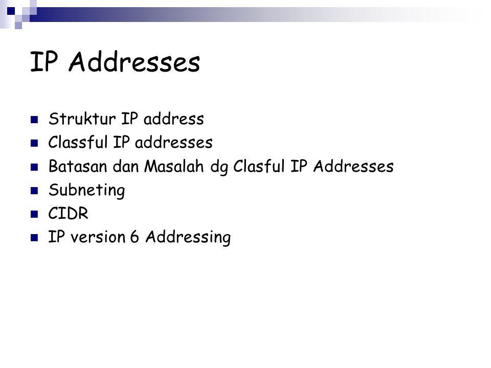 IP Addresses Struktur IP address Classful IP addresses Batasan dan Masalah dg Clasful IP Addresses Subneting CIDR IP version 6 Addressing