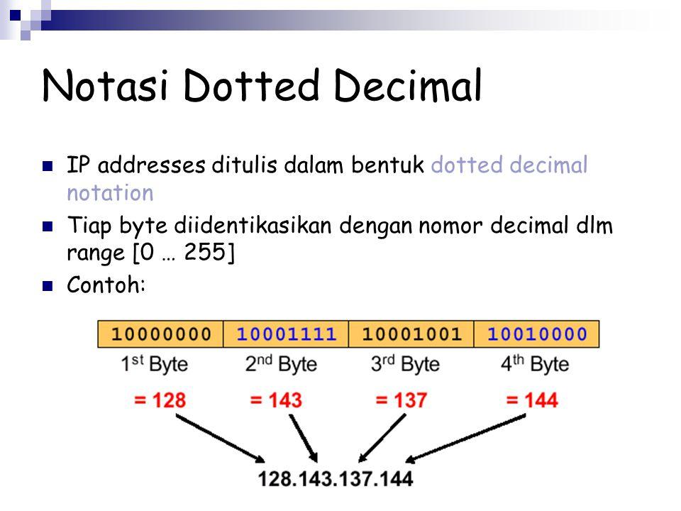 Notasi Dotted Decimal IP addresses ditulis dalam bentuk dotted decimal notation Tiap byte diidentikasikan dengan nomor decimal dlm range [0 … 255] Con