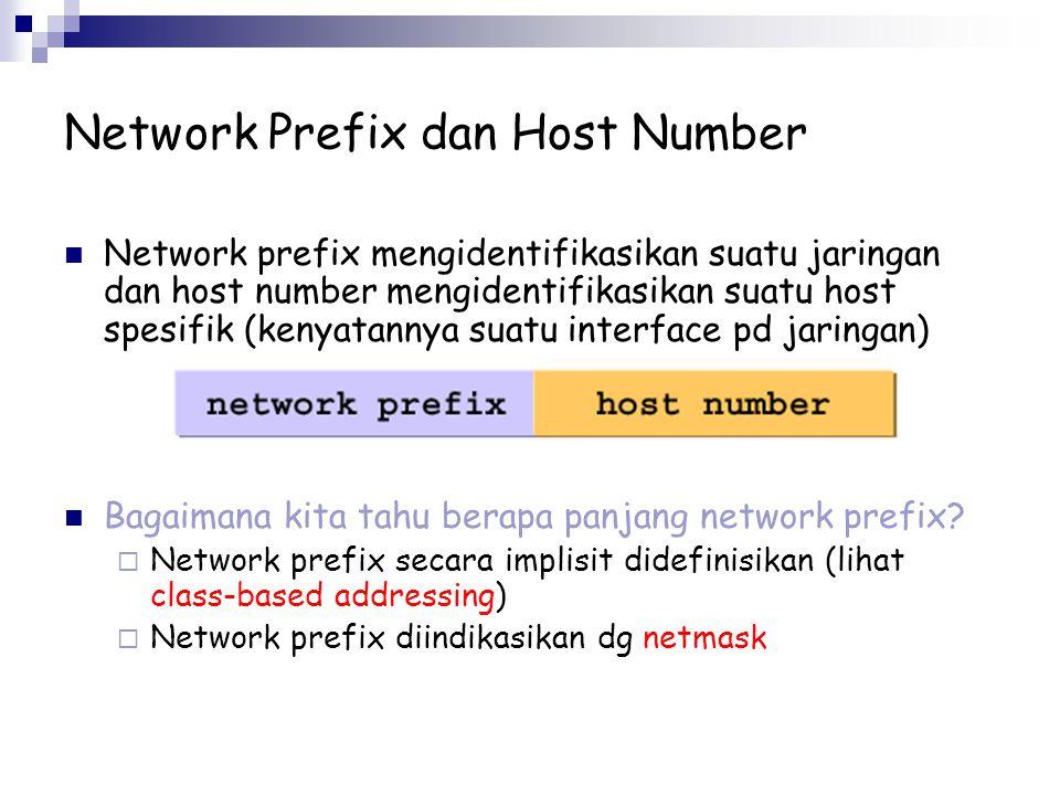 Network Prefix dan Host Number Network prefix mengidentifikasikan suatu jaringan dan host number mengidentifikasikan suatu host spesifik (kenyatannya