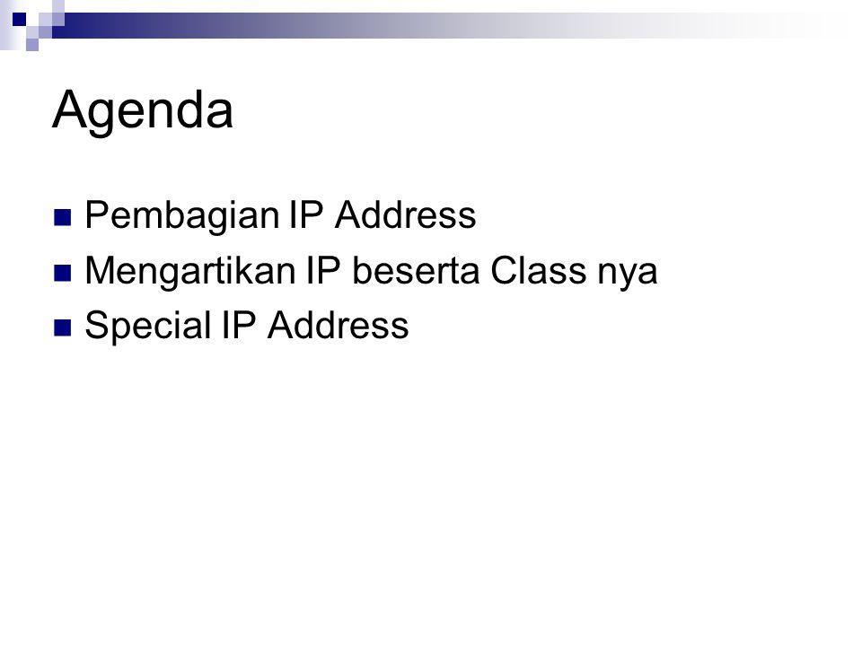 Agenda Pembagian IP Address Mengartikan IP beserta Class nya Special IP Address