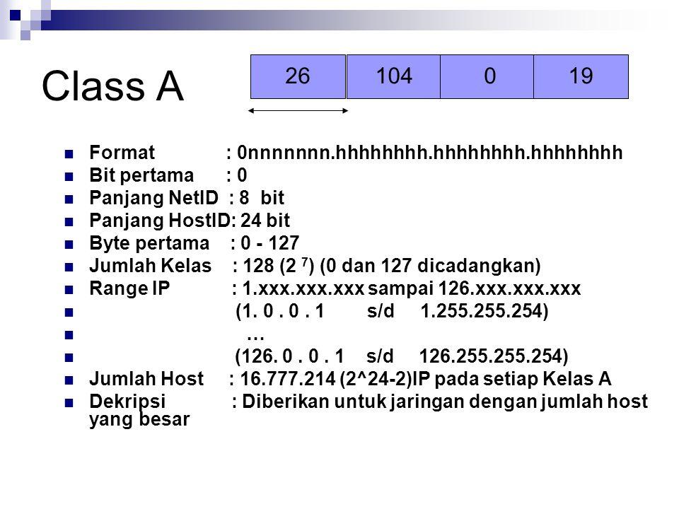 Class A Format : 0nnnnnnn.hhhhhhhh.hhhhhhhh.hhhhhhhh Bit pertama : 0 Panjang NetID : 8 bit Panjang HostID: 24 bit Byte pertama : 0 - 127 Jumlah Kelas