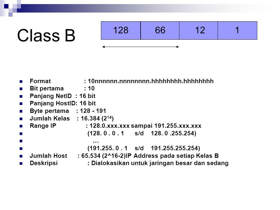 Class B Format : 10nnnnnn.nnnnnnnn.hhhhhhhh.hhhhhhhh Bit pertama : 10 Panjang NetID : 16 bit Panjang HostID: 16 bit Byte pertama : 128 - 191 Jumlah Ke
