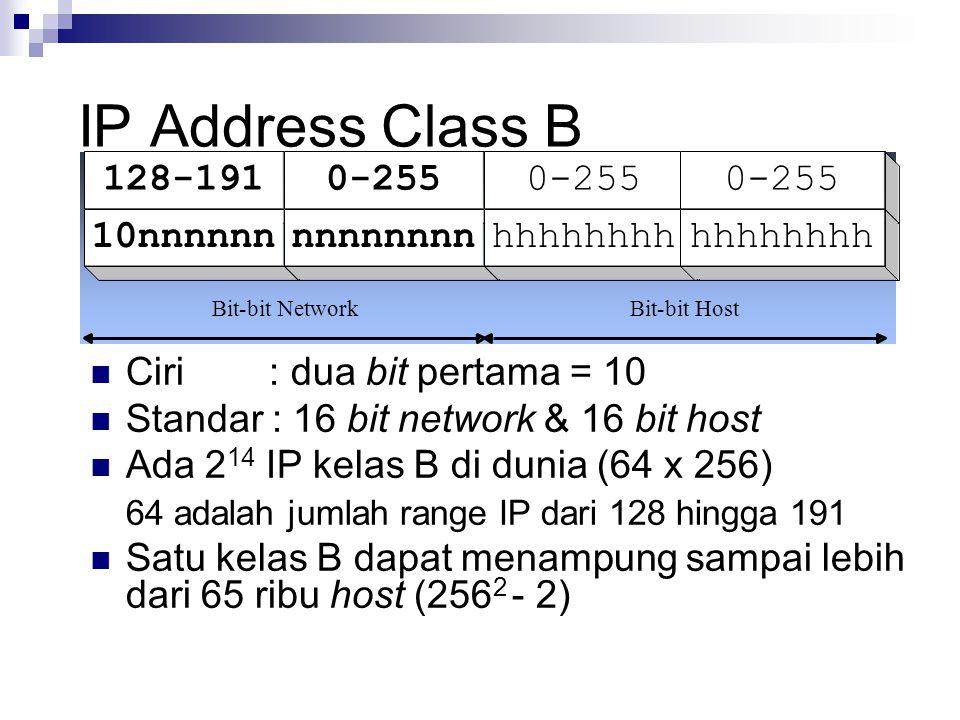 IP Address Class B 128-1910-255 10nnnnnnnnnnnnnnhhhhhhhh Bit-bit NetworkBit-bit Host Ciri : dua bit pertama = 10 Standar : 16 bit network & 16 bit hos