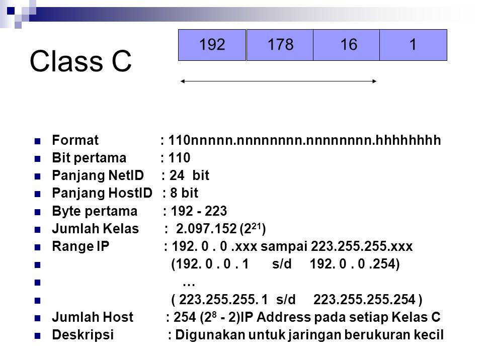 Class C Format : 110nnnnn.nnnnnnnn.nnnnnnnn.hhhhhhhh Bit pertama : 110 Panjang NetID : 24 bit Panjang HostID : 8 bit Byte pertama : 192 - 223 Jumlah K