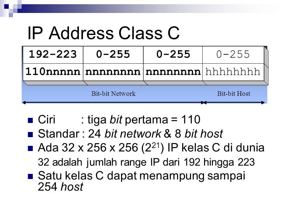 IP Address Class C 192-2230-255 110nnnnnnnnnnnnn hhhhhhhh Bit-bit NetworkBit-bit Host Ciri : tiga bit pertama = 110 Standar : 24 bit network & 8 bit h