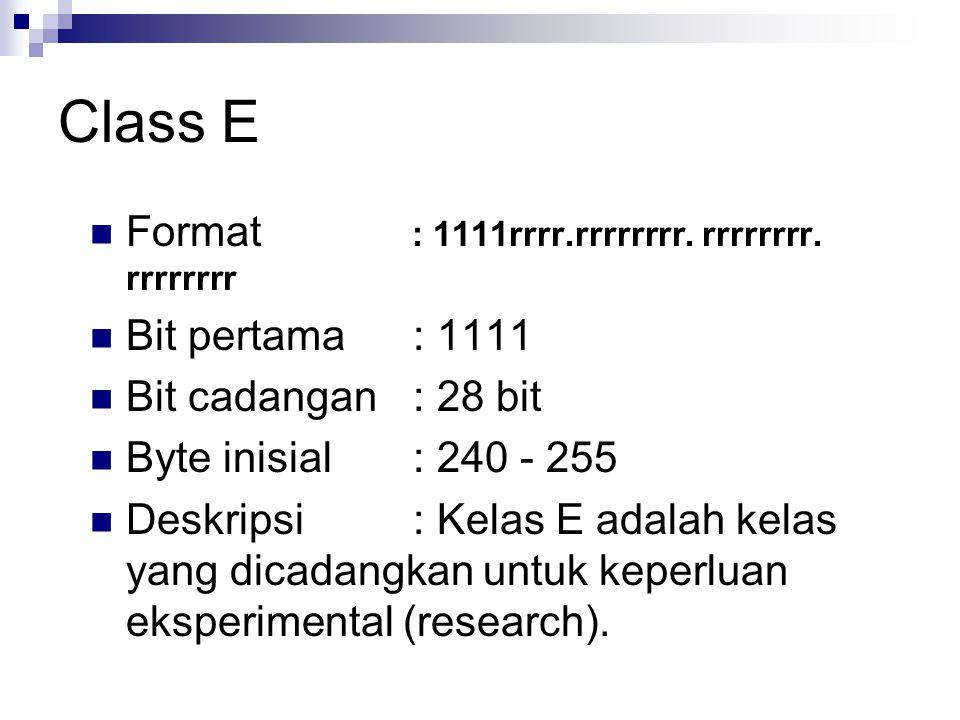 Class E Format : 1111rrrr.rrrrrrrr. rrrrrrrr. rrrrrrrr Bit pertama : 1111 Bit cadangan : 28 bit Byte inisial : 240 - 255 Deskripsi : Kelas E adalah ke