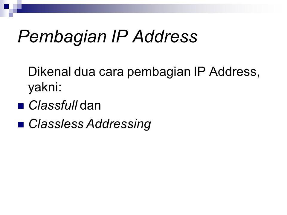 Pembagian IP Address Dikenal dua cara pembagian IP Address, yakni: Classfull dan Classless Addressing