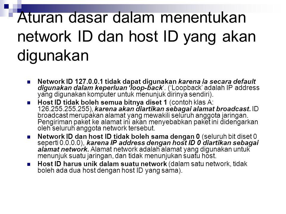 Aturan dasar dalam menentukan network ID dan host ID yang akan digunakan Network ID 127.0.0.1 tidak dapat digunakan karena ia secara default digunakan