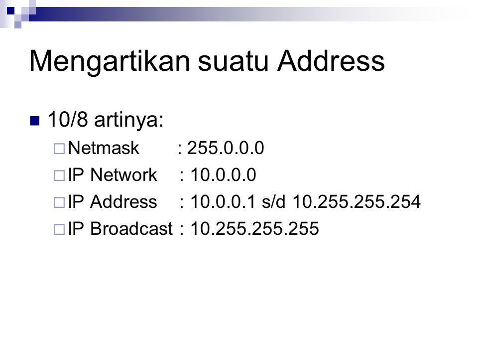 Mengartikan suatu Address 10/8 artinya:  Netmask : 255.0.0.0  IP Network : 10.0.0.0  IP Address : 10.0.0.1 s/d 10.255.255.254  IP Broadcast : 10.2