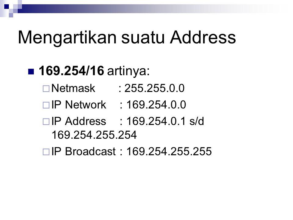 Mengartikan suatu Address 169.254/16 artinya:  Netmask : 255.255.0.0  IP Network : 169.254.0.0  IP Address : 169.254.0.1 s/d 169.254.255.254  IP B