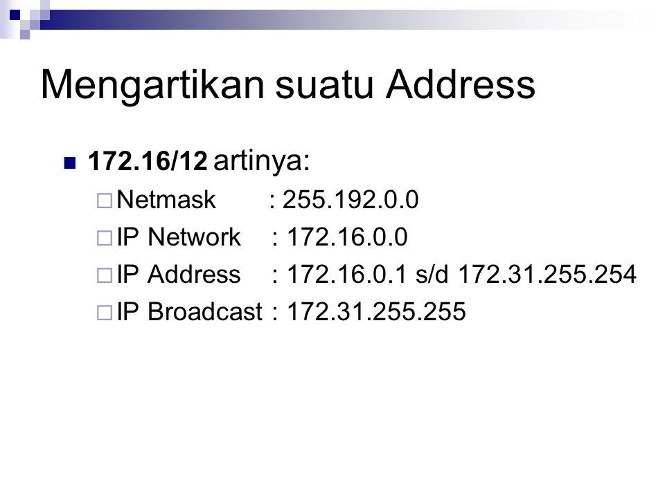 Mengartikan suatu Address 172.16/12 artinya:  Netmask : 255.192.0.0  IP Network : 172.16.0.0  IP Address : 172.16.0.1 s/d 172.31.255.254  IP Broad