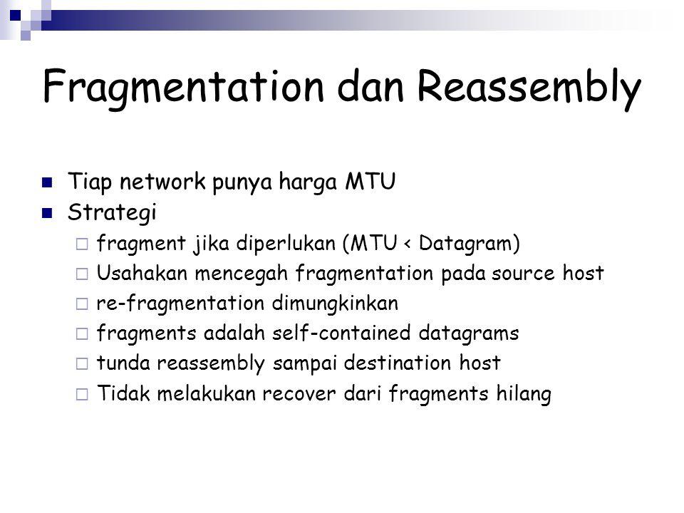 Fragmentation dan Reassembly Tiap network punya harga MTU Strategi  fragment jika diperlukan (MTU < Datagram)  Usahakan mencegah fragmentation pada