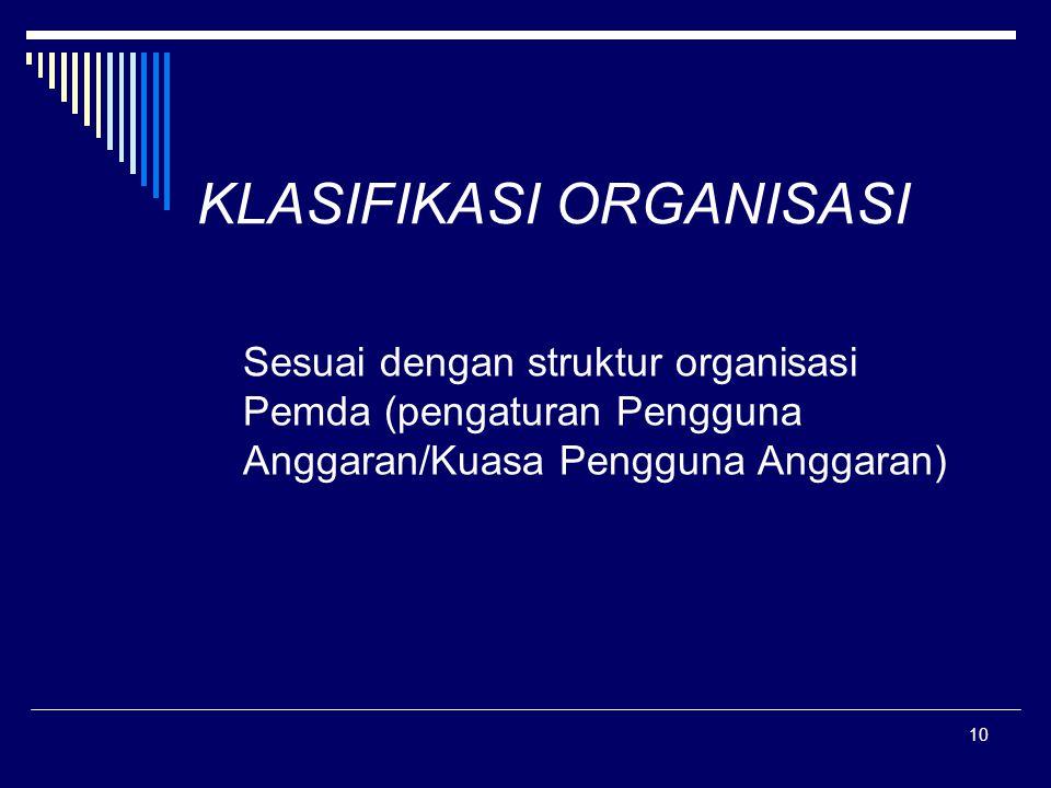 10 KLASIFIKASI ORGANISASI Sesuai dengan struktur organisasi Pemda (pengaturan Pengguna Anggaran/Kuasa Pengguna Anggaran)