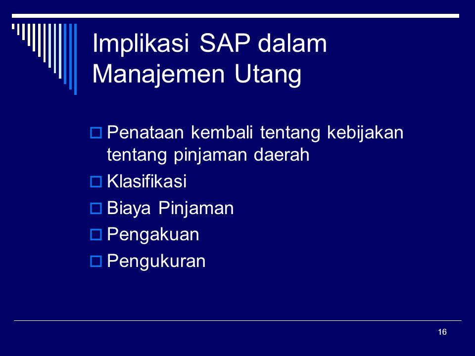 16 Implikasi SAP dalam Manajemen Utang  Penataan kembali tentang kebijakan tentang pinjaman daerah  Klasifikasi  Biaya Pinjaman  Pengakuan  Pengukuran